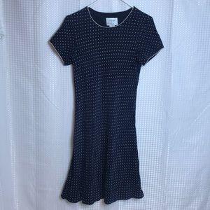 VTG Vision Apparel Silk Polka Dot 50s Navy Dress
